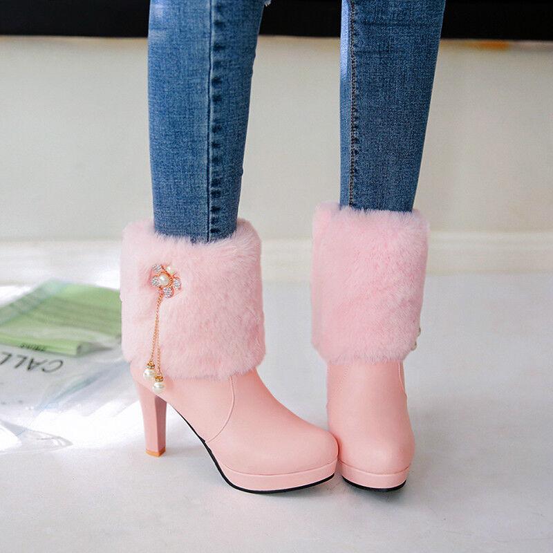 Womens Trendy Sweet Flowers Fur Furry Round Toe Pumps High Heels Ankle Boot Y281