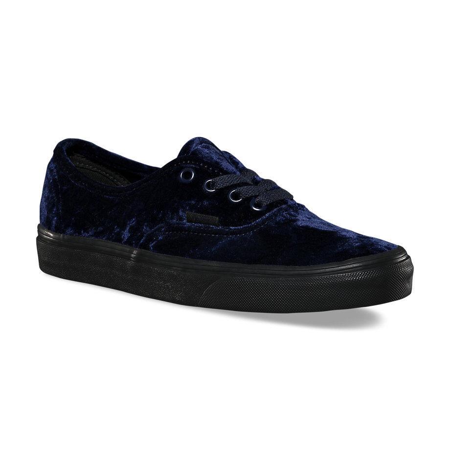 Vans VELVET Authentic Schuhes (NEW) Damenschuhe Größe 5-11 NAVY BLUE BLACK Free Shipping