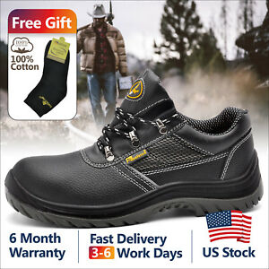 Safetoe-Mens-Safety-Work-Shoes-Steel-Toe-Black-Breathable-Leather-Summer-L-7222