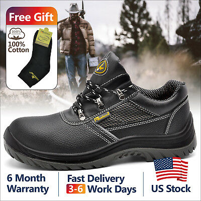 Safetoe <b>Mens</b> Safety Work Shoes <b>Steel Toe</b> Black Breathable ...