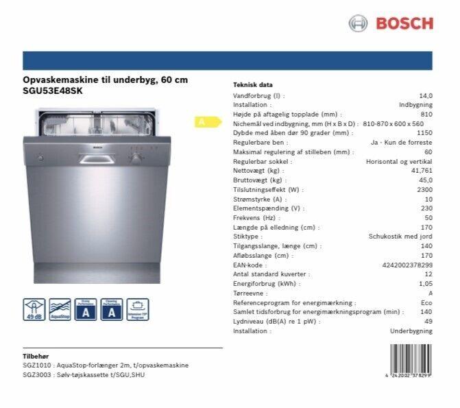Bosch, fritstående, energiklasse A