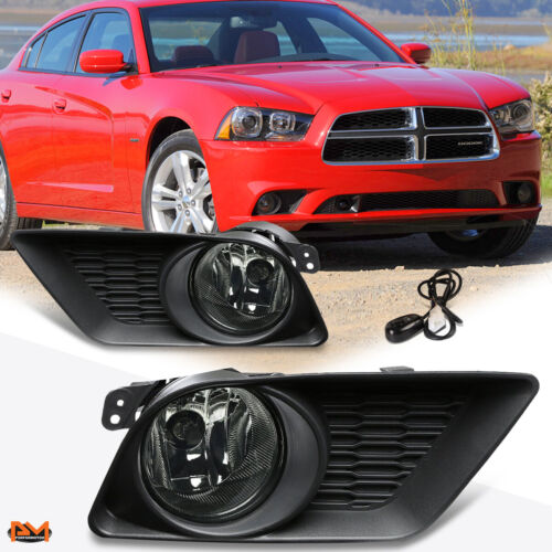 For 11-14 Dodge Charger Smoked Lens Front Bumper Fog Light//Lamp W//Switch+Bezel