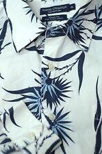 Daniel Cremieux Men's White & Blue Tropical Floral Cotton Casual Shirt XL XLarge