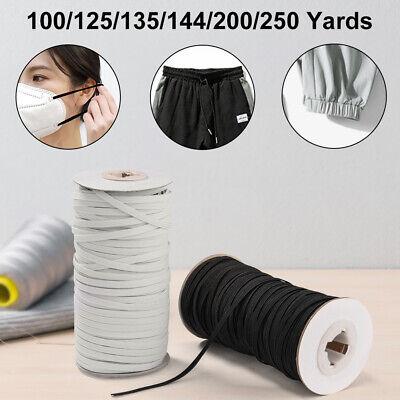 Elastic Rope for DIY Mask Elastic Bands 135//144 Yards Length 1//8 Inch Braided Premium Quality Black Heavy Stretch Knit Elastic Cord