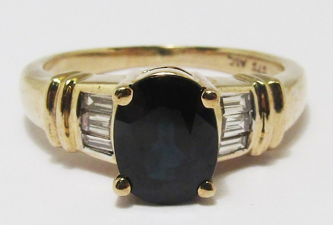 100% Genuine Vintage 9ct Yellow gold 1.52 cts Sapphire & Diamond Ring Size 6