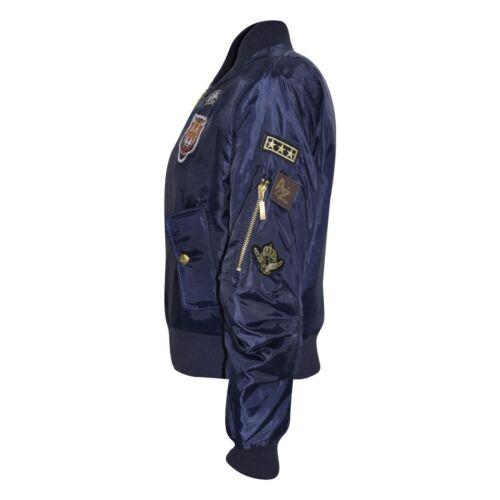 Enfants Garçons Filles Veste insignes Imprimer Bomber Rembourré Fermeture Éclair Motard Vestes MA 1 manteau