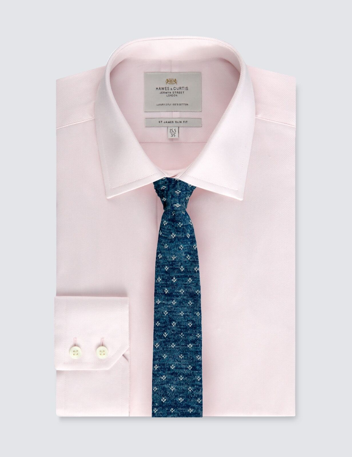 Hawes & Curtis Mens Pink Textured Slim Fit Shirt - Single Cuff - Easy Iron