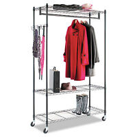 Alera Wire Shelving Garment Rack, Coat Rack, Stand Alone Rack, Black Steel W on Sale