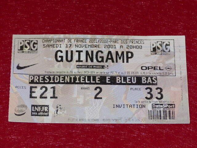 [COLECCIÓN DEPORTE FÚTBOL] PSG DE BILLETE     GUINGAMP 17 NOVEMBRE 2001  bienvenido a orden