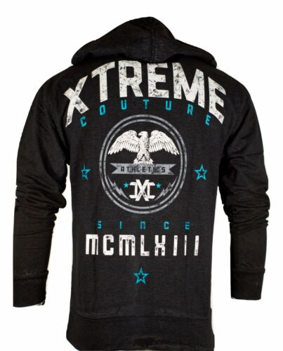 Xtreme Couture Men ZIP Hoodie Sweat Shirt Jacket KNOCK OUT BLOW Biker UFC $78