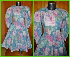 Vtg 80s Polished Cotton Floral English Garden Print Country Boho Fit Flare DRESS