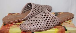 Jeffrey-Campbell-Doshi-slides-in-taupe-woven-leather-slip-on-shoes-New-With-Box