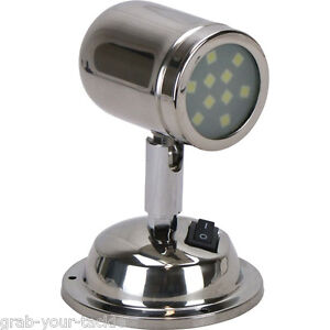 Led Interior Reading Swivel Bunk Light 12volt Caravan Boat Polished Stainless Ebay