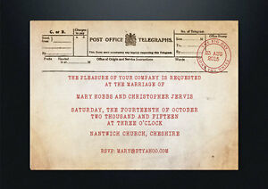 Image Is Loading PERSONALISED VINTAGE POST OFFICE TELEGRAM WEDDING INVITATIONS SHABBY