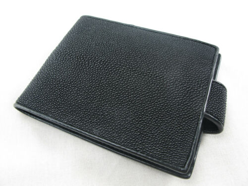 Genuine Stingray Skin Leather Utility Bifold Card Wallet Black FREE SHIPPING