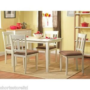 5 piece dining set white wood breakfast furniture 4 chairs for Kitchen set cicilan 0