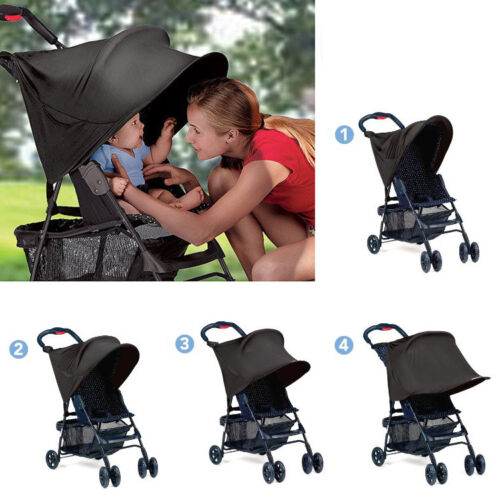 1pc black UV block kids baby stroller sun shade cover adjustable canopies