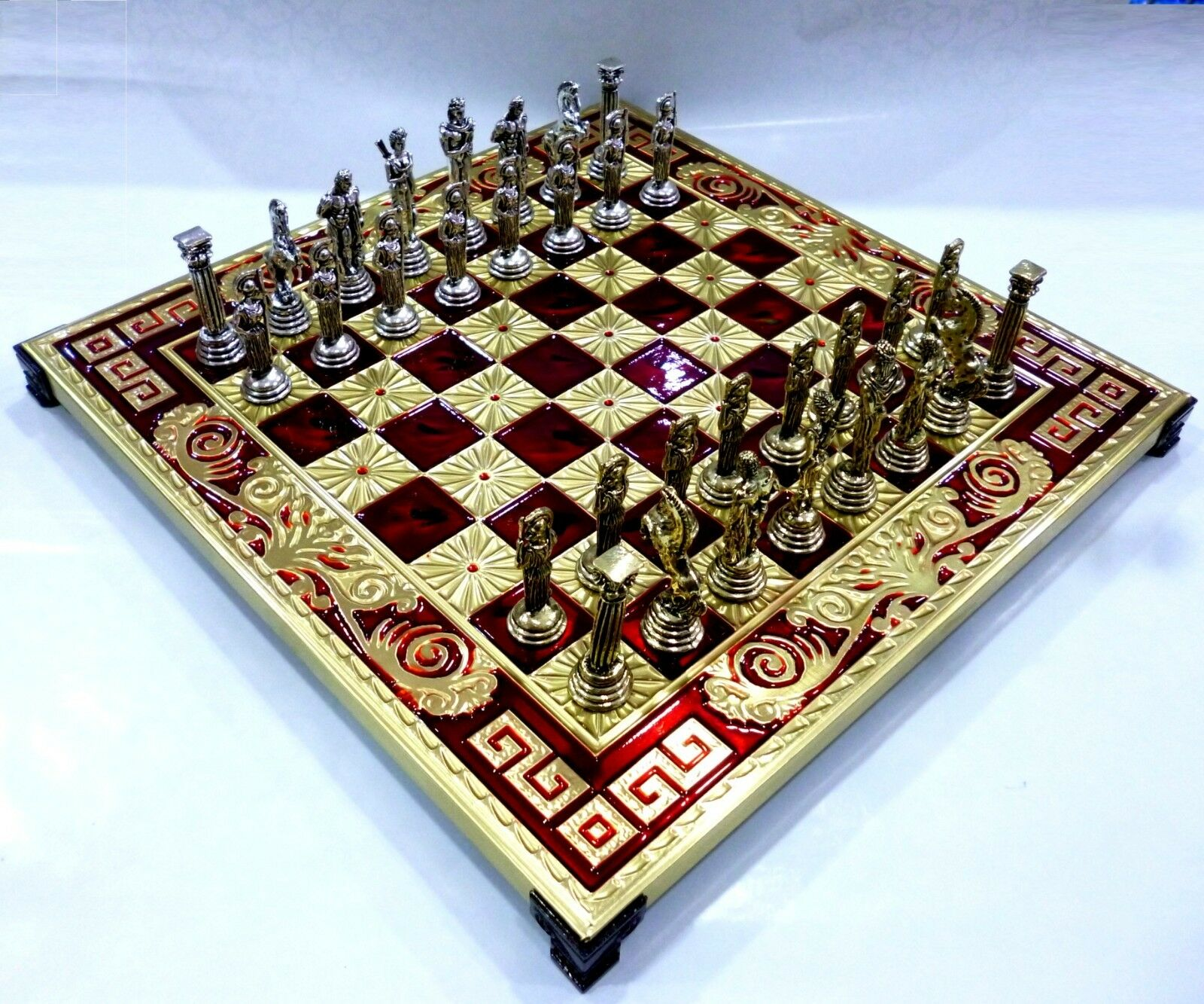 Greek Greek Greek Mythology Chess Set with Bronze Board & Metal Pieces Made in Greece 12.60  3b4576