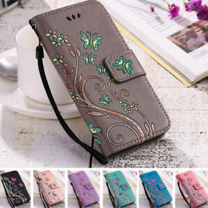 Womens-Flip-Leather-Silicone-Flower-Butterfly-Print-Ladies-Wallet-Case-Cover-S
