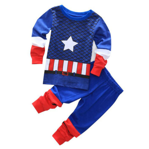 Kinder Superhero Pyjama Mädchen Jungen Nachtwäsche Schlafanzug Outfits Sleepwear