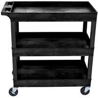 Storage Cart 3 Shelves Kitchen Pantry Rolling Wheels Service Restaurant Bus Boy
