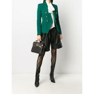 BALMAIN 2450$ Double Breasted Blazer In Green Grain De Poudre Wool