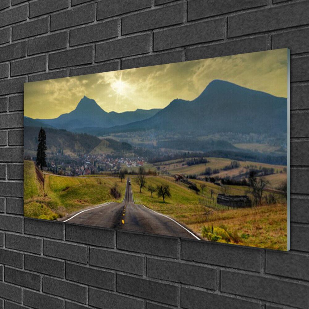 Image sur verre Tableau Impression 100x50 Paysage Route Montagnes