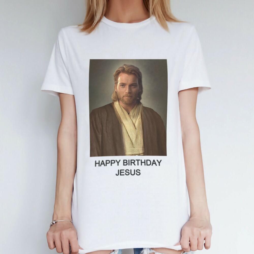 CréAtif Femme Star Wars Parodie Noël T Shirt, Obi Wan Jésus Drôle Nouveauté Noël Tops Dans Beaucoup De Styles