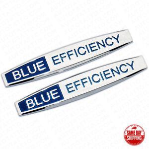 2x Blue Efficiency Side Fender Skirts Sticker ABS Badge Logo Emblem Decoration