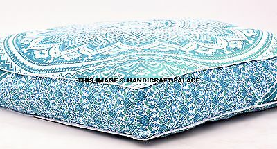 Ombre Mandala Floor Pillows Indian Meditation Ottoman Poufs Large Cushion Cover