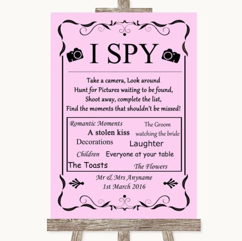 Rose I SPY Appareil photo jetable Personnalisé Mariage Signe