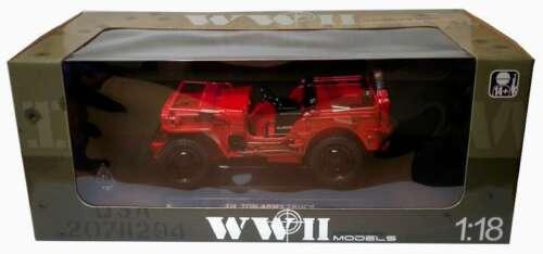 Welly 18036 1//4 Ton Willys Jeep del ejército Diecast Modelo verde y rojo y de las Naciones Unidas Blanco 1:18 Th