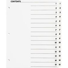 Business Source Index Dividers Withtoc Page 1 15 15 Tabsst 11x8 12 White 05857