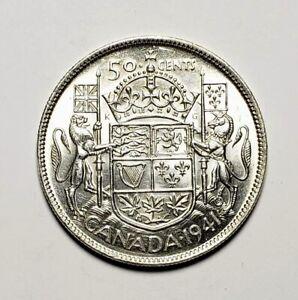 Canada-1941-Silver-50-Cents-Half-Dollar-Coin