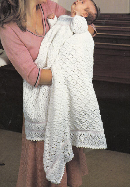 Knitting pattern-Baby christening dress and Shawl in 4ply- vintage