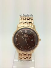 Mens Adee Kaye Watch Rose Gold Stainless Steel Band Casual Dress Date AK8224