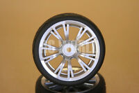 Rc 1/10 Car Tires Wheels Rims Package Kyosho Tamiya Hpi Silver 10 Spoke Cut