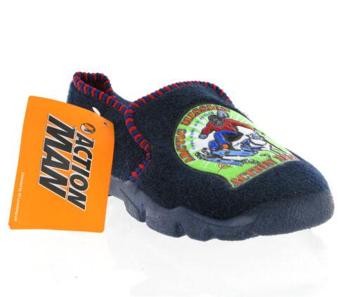 Action Man Novelty Slip On Hard Soled Boys Kids Slippers UK9-1