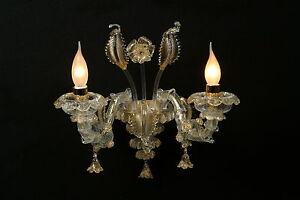 Applique di murano originale ca rezzonico 2 luci cristallo e oro ebay