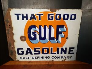 original-That-Good-GULF-Gasoline-double-sided-porcelain-flange-sign-18x22