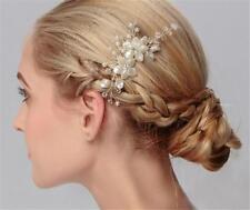 Pearls Hair Comb Rhinestone Wedding Headdress Crystal Bridal Accessories 1 Piece