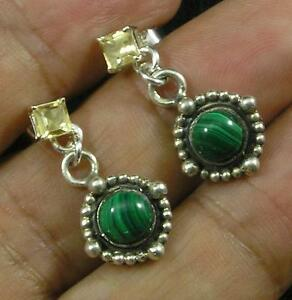 Natural-Malachite-Faceted-Citrine-Earrings-925-Sterling-Silver-Vintage-Style