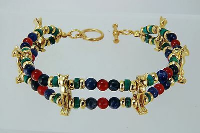 Egyptian Bastet Bracelet Carnelian, Sodalite & Turquoise Beads with 6 Cat Charms