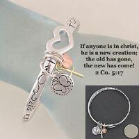 Bracelet 2 Corinthians 5:17 if Anyone Is In Christ  Heart Cross Religious 531