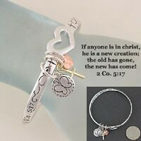 Bracelet 2 Corinthians 5:17 if Anyone Is In Christ  Heart Cross Religious 531