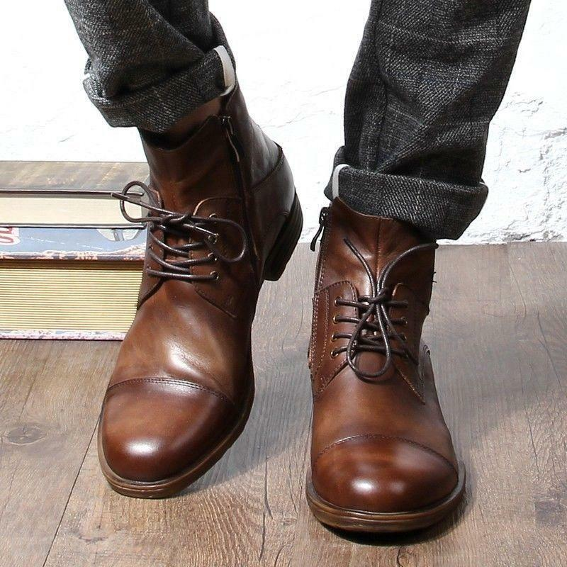 Retro Men's lace up side zip Oxfords Genuine Leather High Top Ankle Boots