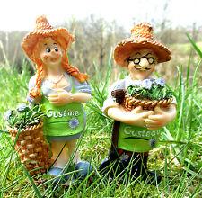 2er-Set Gärtner und Gärtnerin Gartenfigur Balkon Gartendeko Frühling Minigarten