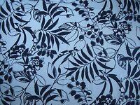 "RALPH LAUREN CURTAIN FABRIC ""Westinghouse Floral"" 2.4 METRES DRESS WHITE (NAVY)"