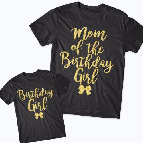 Birthday Girl Matching T-shirts Glitter family tops Gift 1st Bday Mom Daughter