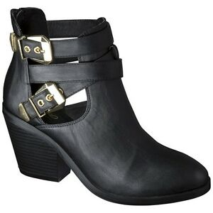 Women\'s Mossimo® Lina Buckle Ankle Boot - Black | eBay